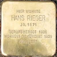 Stolperstein für Hans Rieger