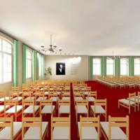 Zukünftige Perspektive auf die Bühne der Aula