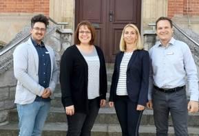 Team des Beratertages (v.l.): Stefan Beyer (Wirtschaftsförderung), Doreen Griesche (HWK MD), Denise Bröder (IHK MD), Christian Schüler (Wirtschaftsförderung)